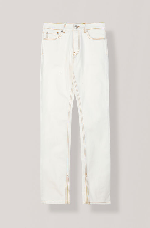 Denim Slit Pants, White, hi-res