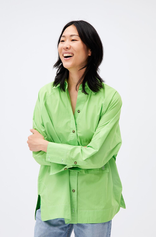 가니 오버사이즈 셔츠 Ganni Cotton Poplin Cotton Poplin Raglan Sleeve Oversize Shirt,Flash Green