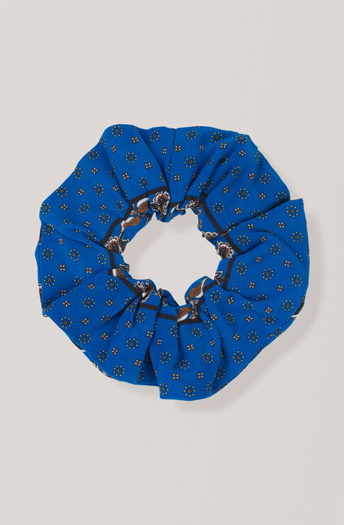 Sandwashed Silk Scrunchie, Lapis Blue, hi-res