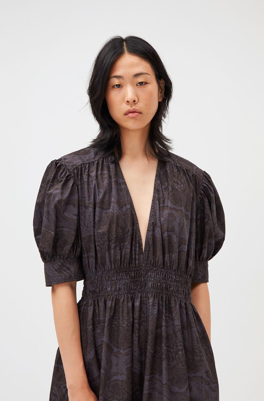 가니 원피스 Ganni V-Neck Elasticated Midi Dress,Phantom