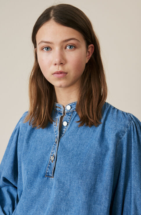Soft Denim Blouse, Light Denim, hi-res