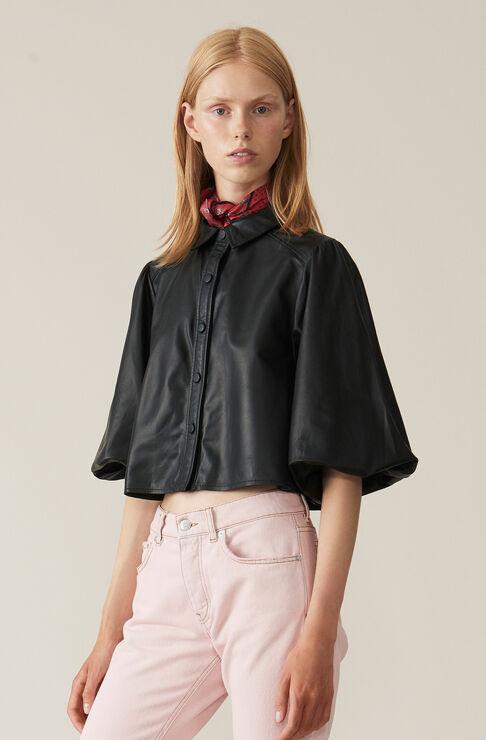 Thin Lamb Leather Shirt, Black, hi-res