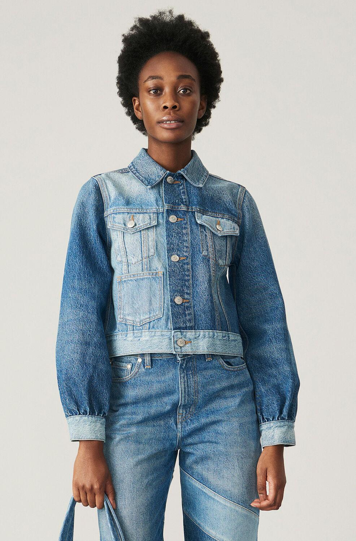 가니 투톤 청자켓 Ganni Organic Cotton Two-Tone Denim Jacket