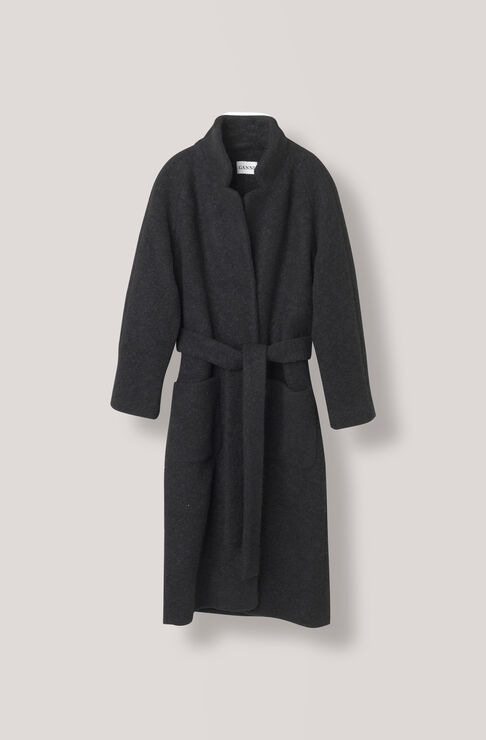 Fenn Long Wrap Coat, Black, hi-res