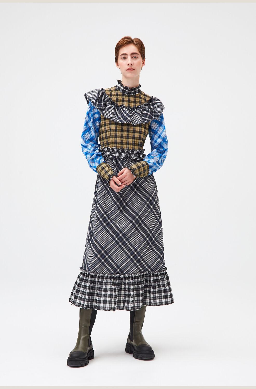가니 패치워크 러플 맥시 원피스 Ganni Patchwork Seersucker Ruffled Maxi Dress,Block Colour