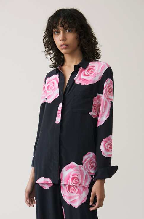 Fayette Silk Shirt, Black, hi-res