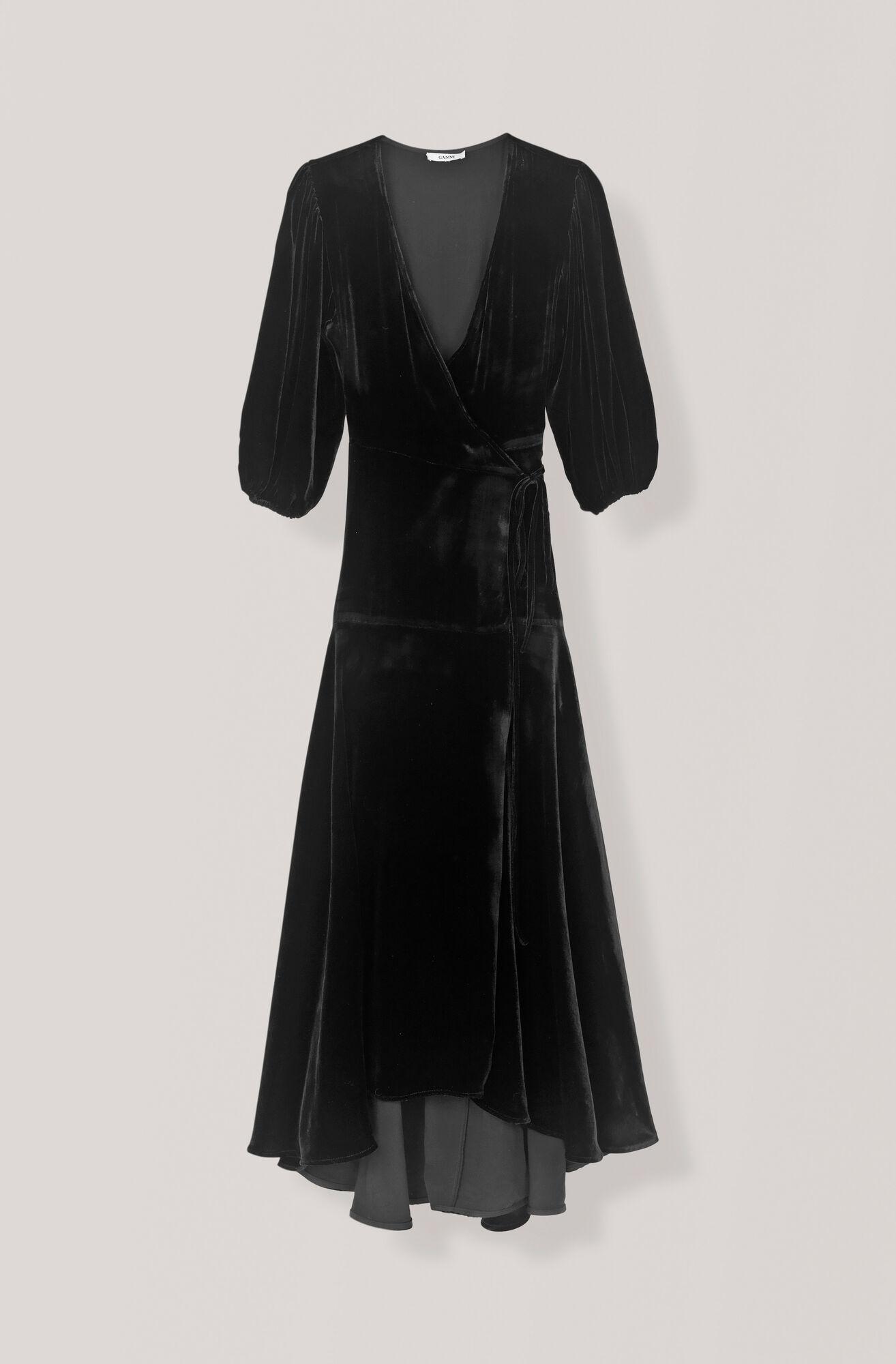 Silk Velvet Wickelkleid, Black, hi-res