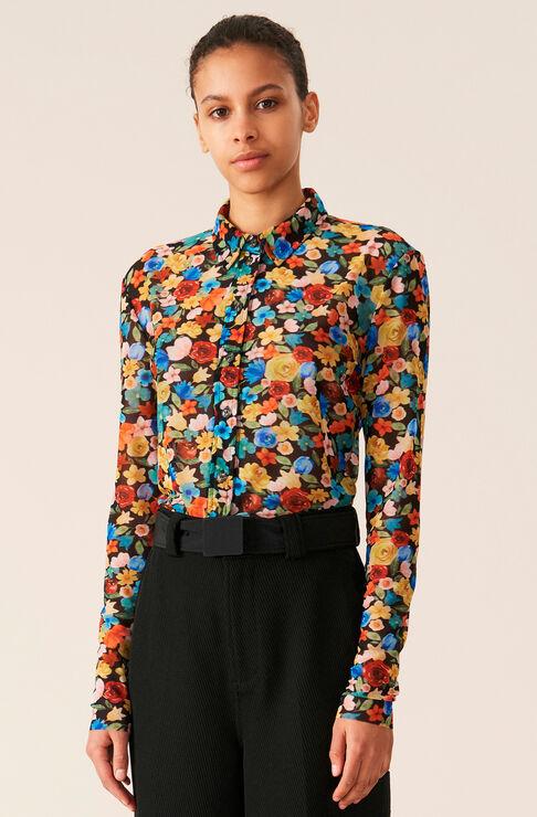 Ganni Women's Floral Mesh Shirt In Multicolour