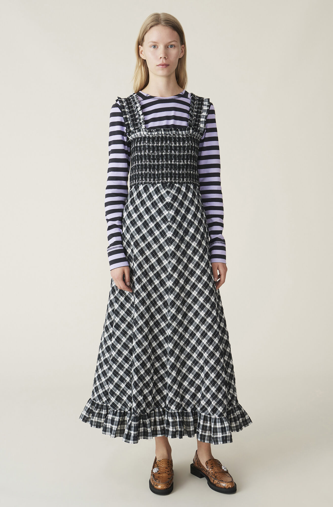Ganni Us Seersucker Check Maxi Dress 142 00 Usd Shop Your