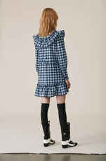 Seersucker Check Mini Dress, Serenity Blue, hi-res