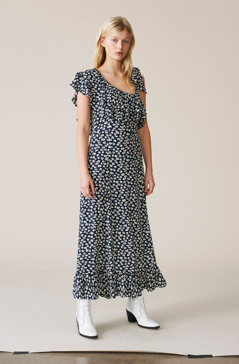 Roseburg Crepe Maxi Dress, Total Eclipse, hi-res
