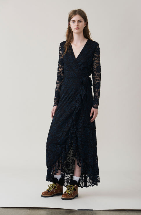 Flynn Lace Wrap Dress, Black, hi-res