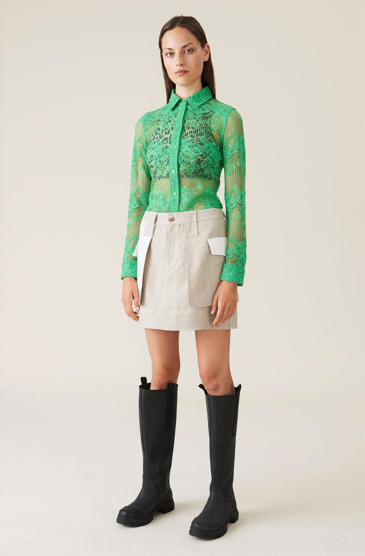 가니 린넨 스커트 Ganni Linen Mini Skirt,Nature