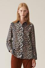 Printed Cotton Poplin Skjorte, Leopard, hi-res