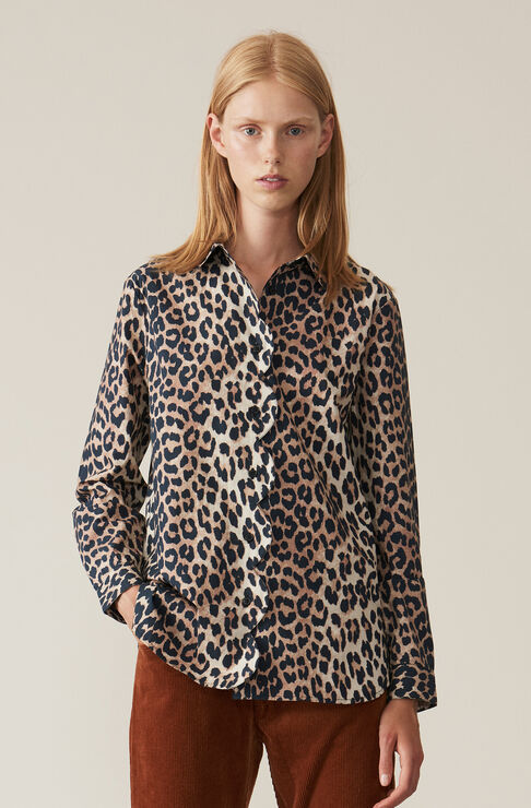 Printed Cotton Poplin Shirt, Leopard, hi-res