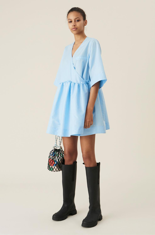 가니 랩 원피스 Ganni Blue Tafetta Oversized Wrap Mini Dress,Airy Blue