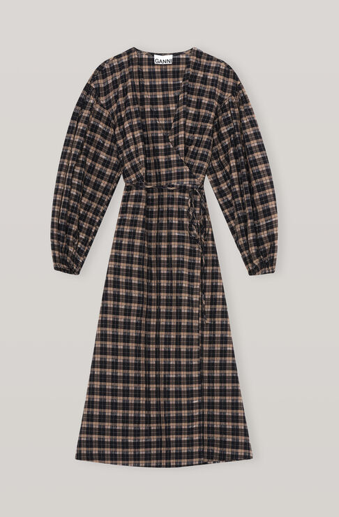 Ganni Cottons SEERSUCKER CHECK WRAP DRESS