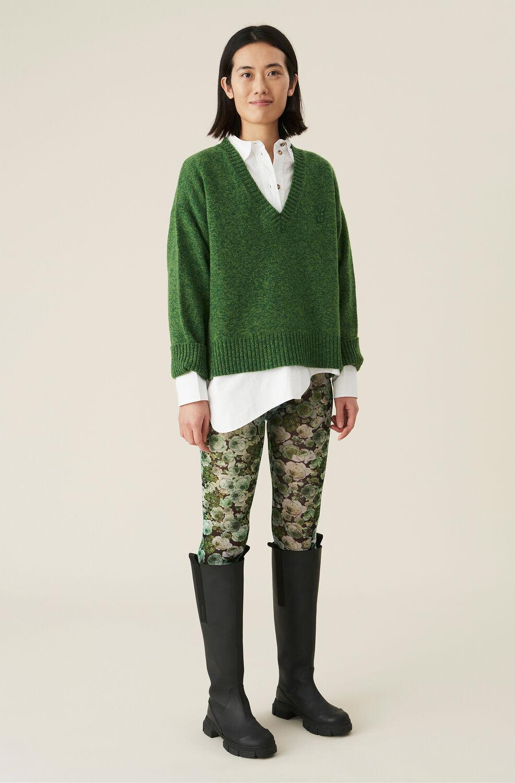 가니 메쉬 레깅스Ganni Green Floral Mesh Leggings,Kelly Green