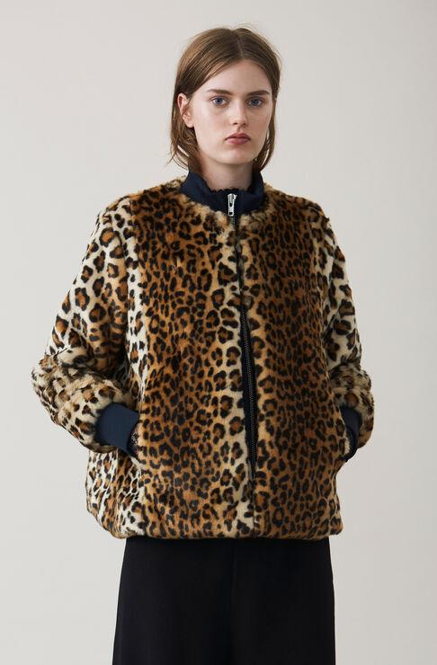 Ferris Faux Fur Jacket, Leopard, hi-res