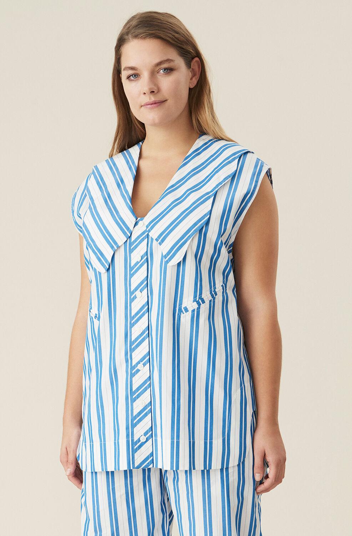 가니 Ganni Organic Cotton Sleeveless Button-Up Tunic,Daphne