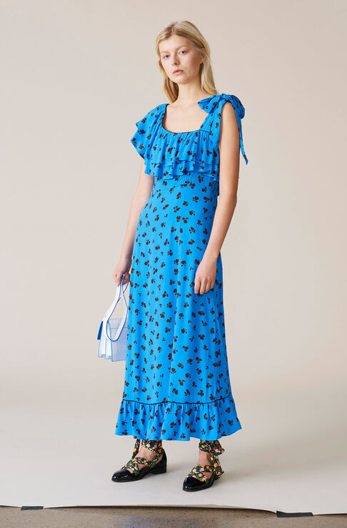 Roseburg Crepe Maxi Dress, Marina, hi-res
