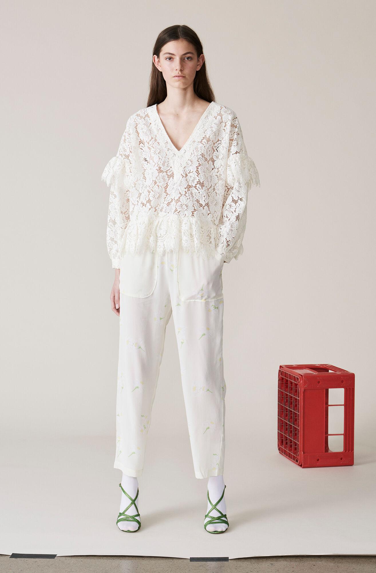 Nolana Silk Pants, Egret, hi-res