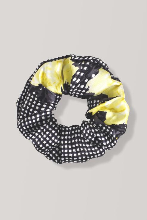Calla Silk Scrunchie, Black, hi-res