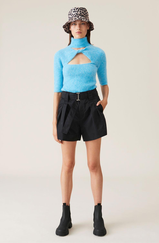 Ganni Outerwear Nylon Shorts,Black