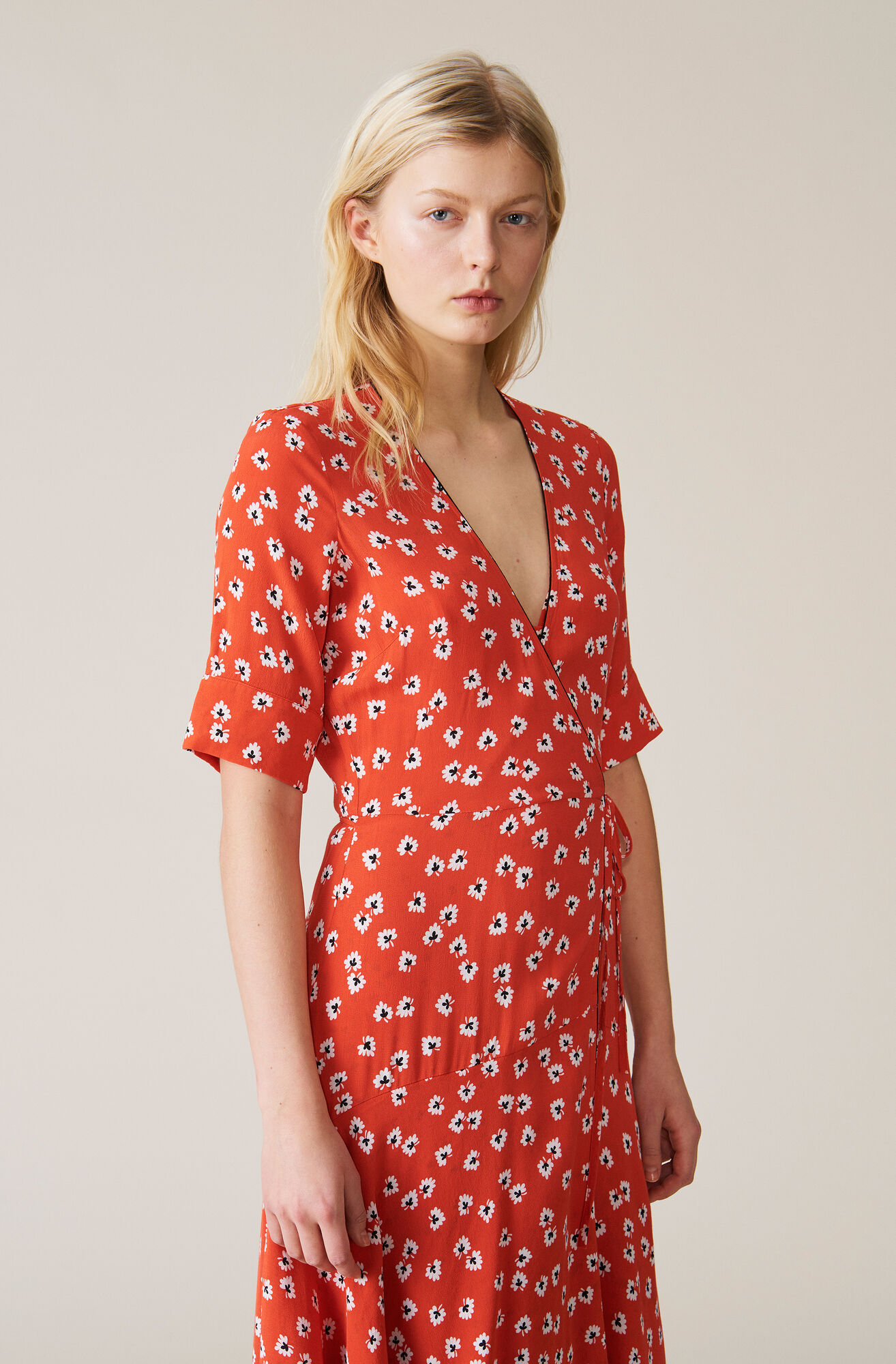 Silvery Crepe Wrap Dress, Big Apple Red, hi-res