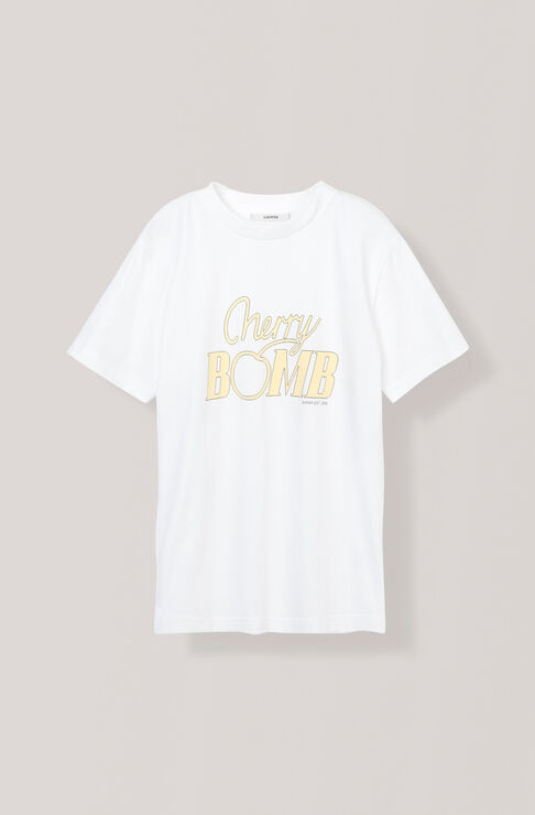 Heavy Cotton Jersey T-shirt, Cherry Bomb, Bright White, hi-res