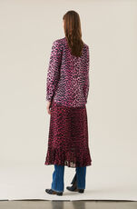 Printed Cotton Poplin Love for Leopard Scallop Shirt, Hot Pink, hi-res