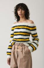 The Julliard Mohair Off Shoulder Pullover, Block Colour, hi-res
