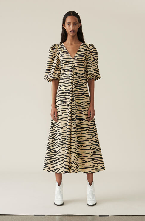 Printed Cotton Poplin Maxi Dress, Irish Cream, hi-res