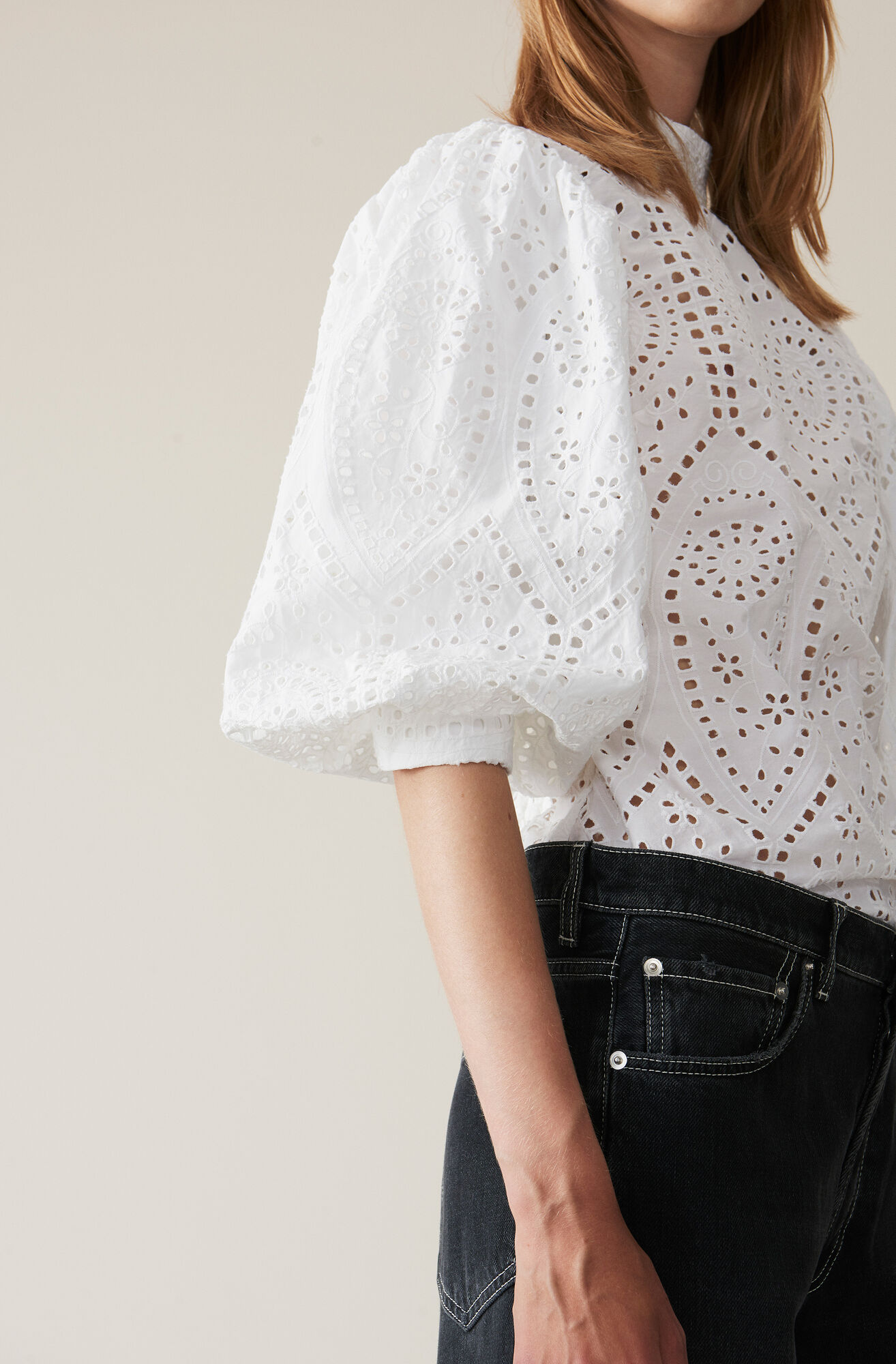 Broderie Anglaise Bluse, Bright White, hi-res