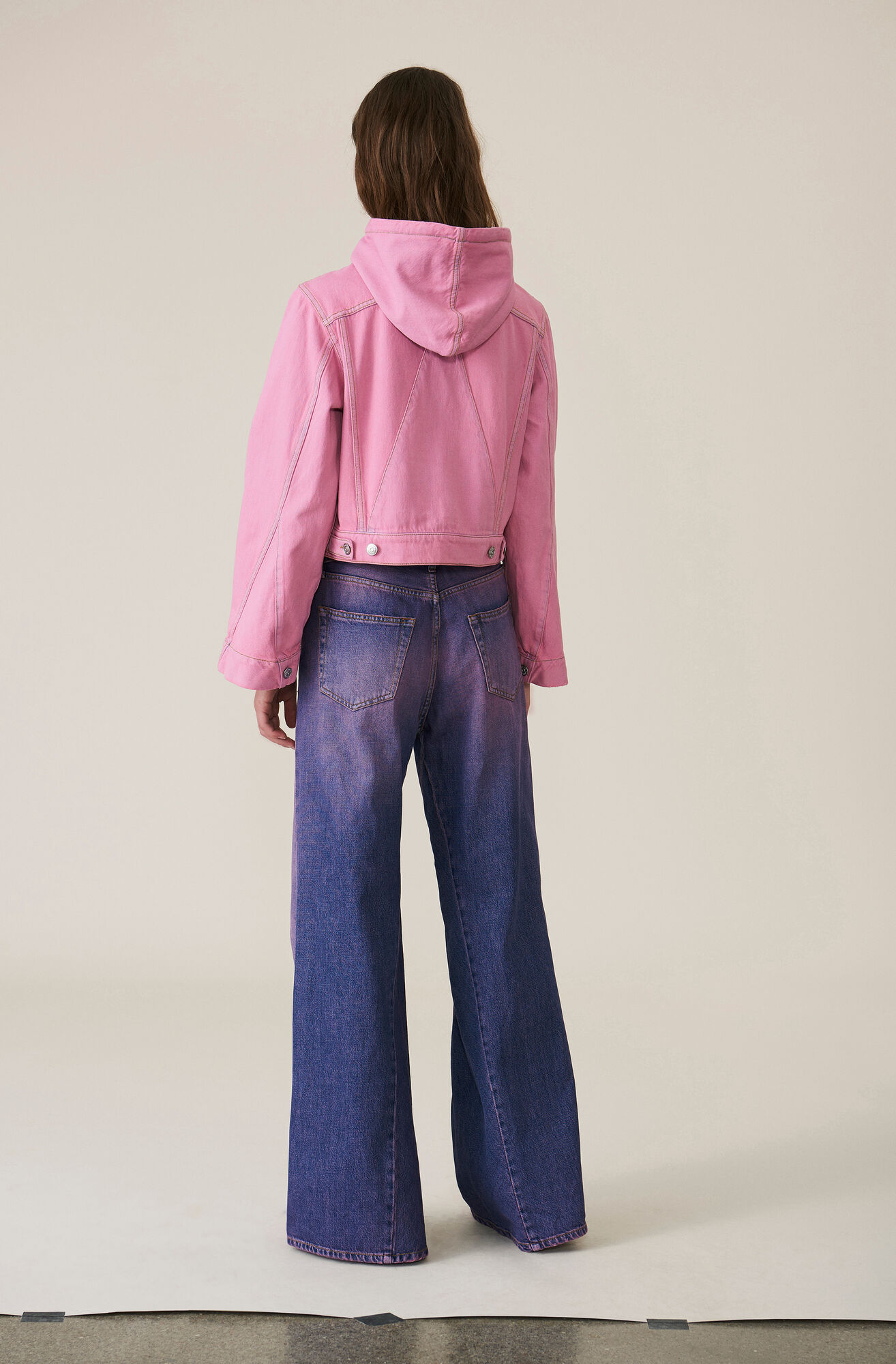 Denim Wide Byxor, Hot Pink On Blue, hi-res