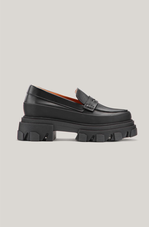 가니 로퍼 Ganni Leather Heeled Loafers,Black