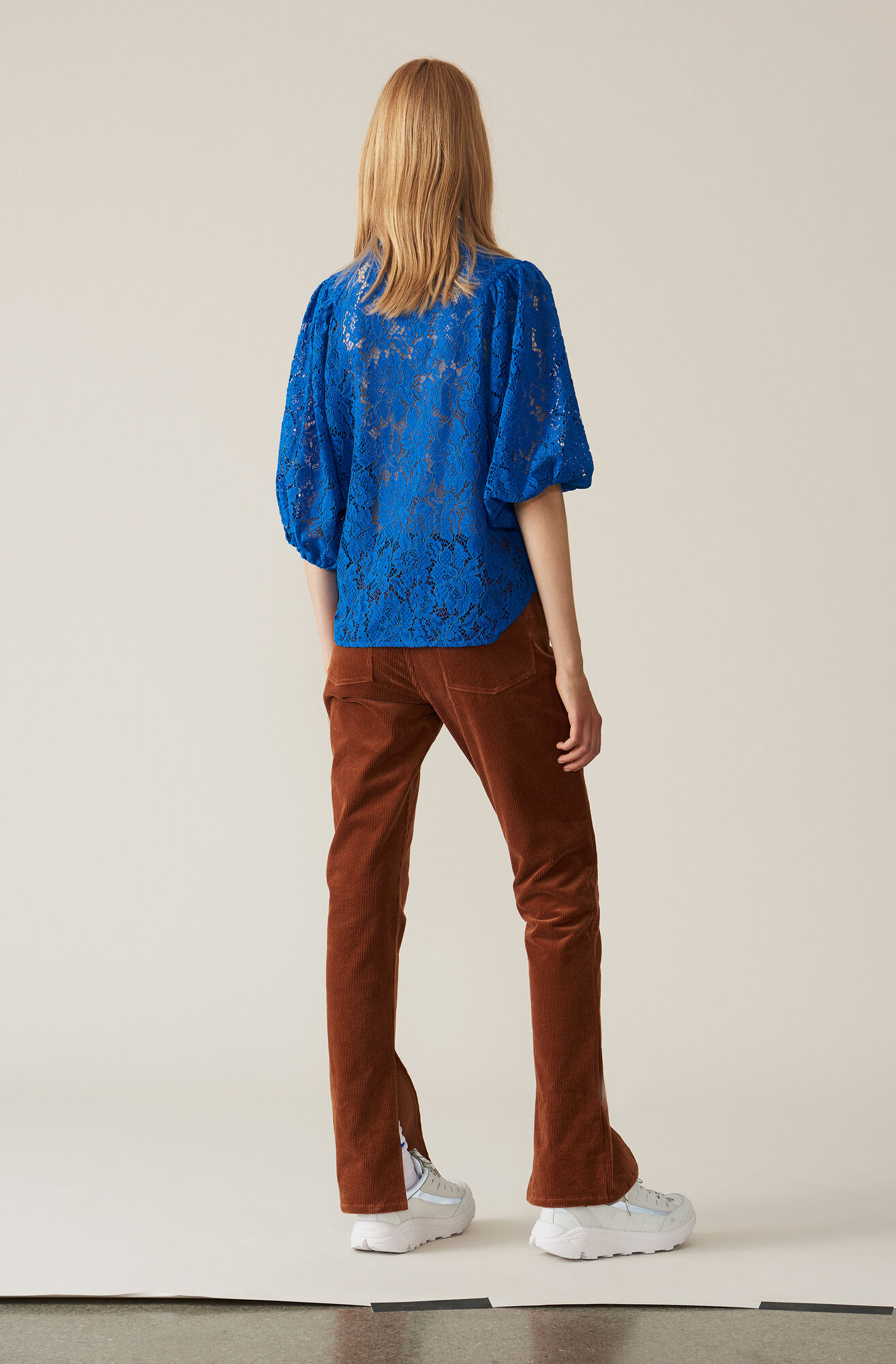 Cotton Lace Shirt, Lapis Blue, hi-res