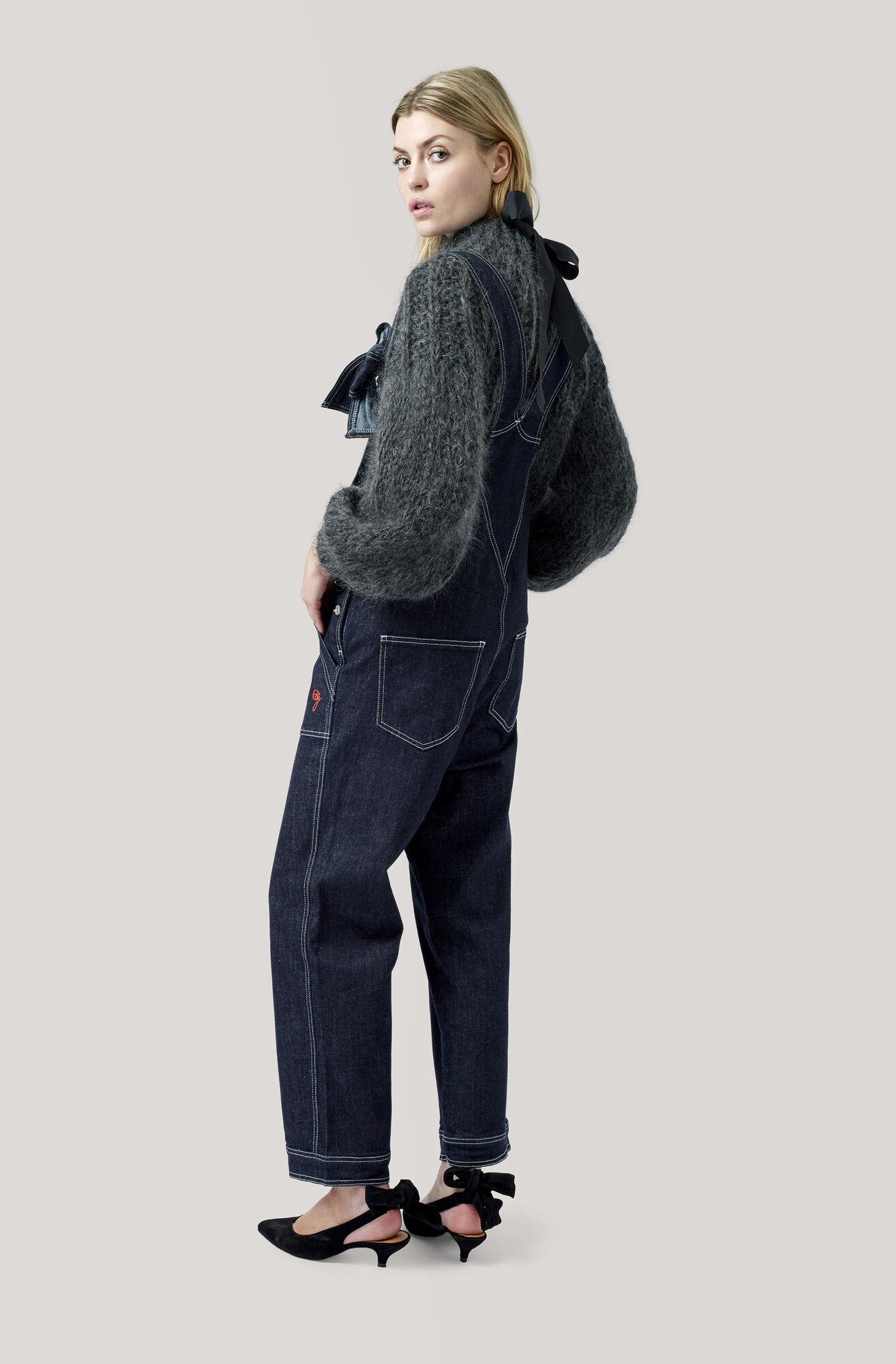 The Julliard Mohair Open Back Pullover, Ebony Melange, hi-res