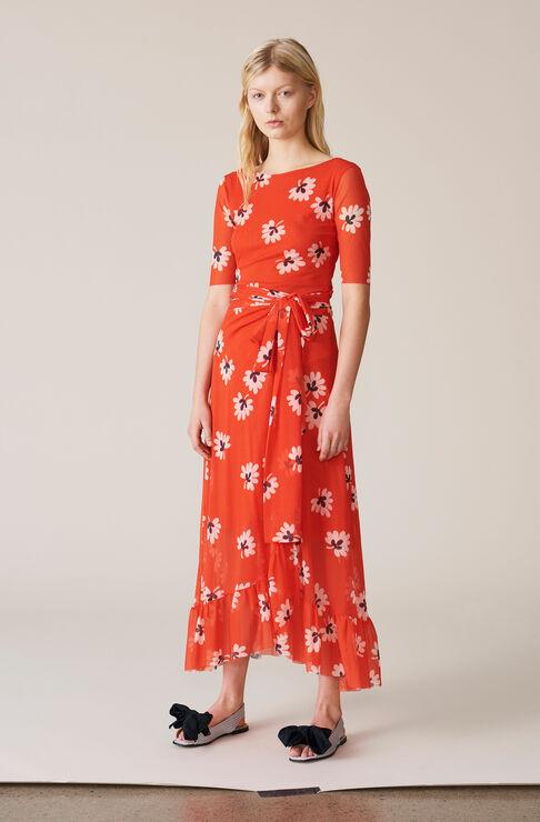 Tilden Mesh Wrap Skirt, Big Apple Red, hi-res