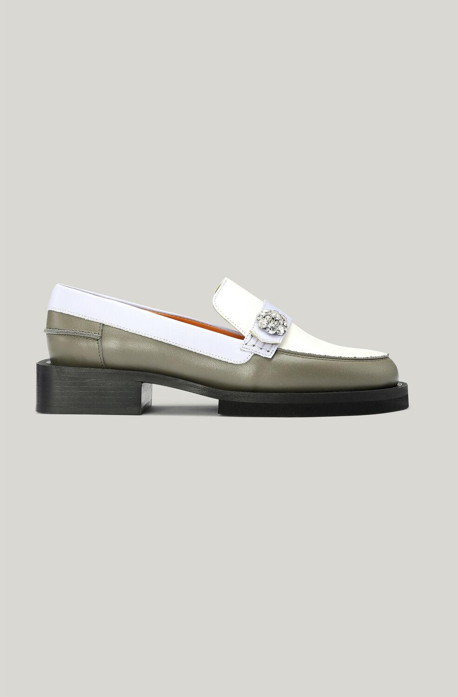 가니 로퍼 Ganni Leather Crystal Embellished Loafers,Vanilla Ice