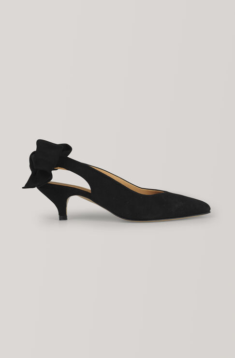 Bow Kitten Heel Pumps, Black, hi-res