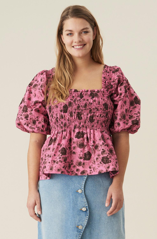 가니 블라우스 Ganni Cotton Poplin Shirred Blouse,Shocking Pink