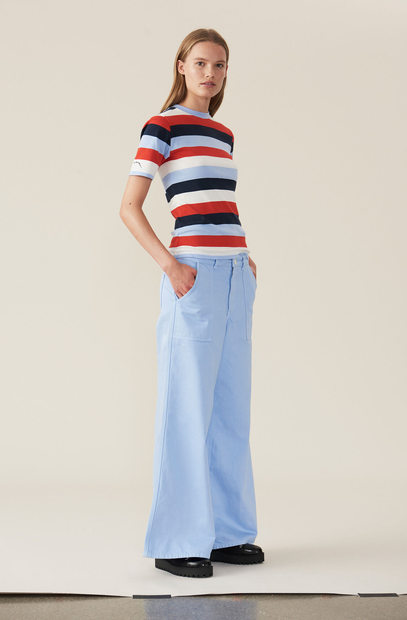 Stripe Rib T-shirt, Stripes, Multicolour, hi-res