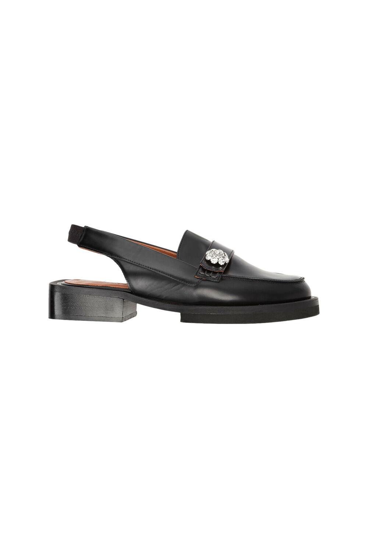 가니 로퍼 Ganni Leather Slingback Loafer,Black