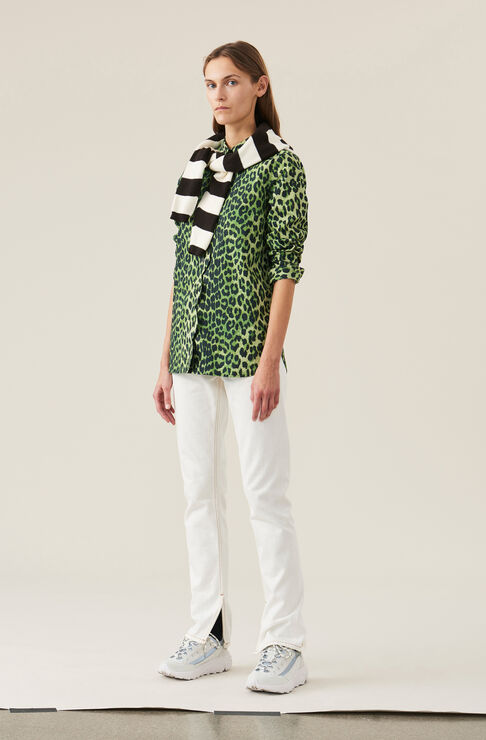 Printed Cotton Poplin Love for Leopard Scallop Shirt, Classic Green, hi-res