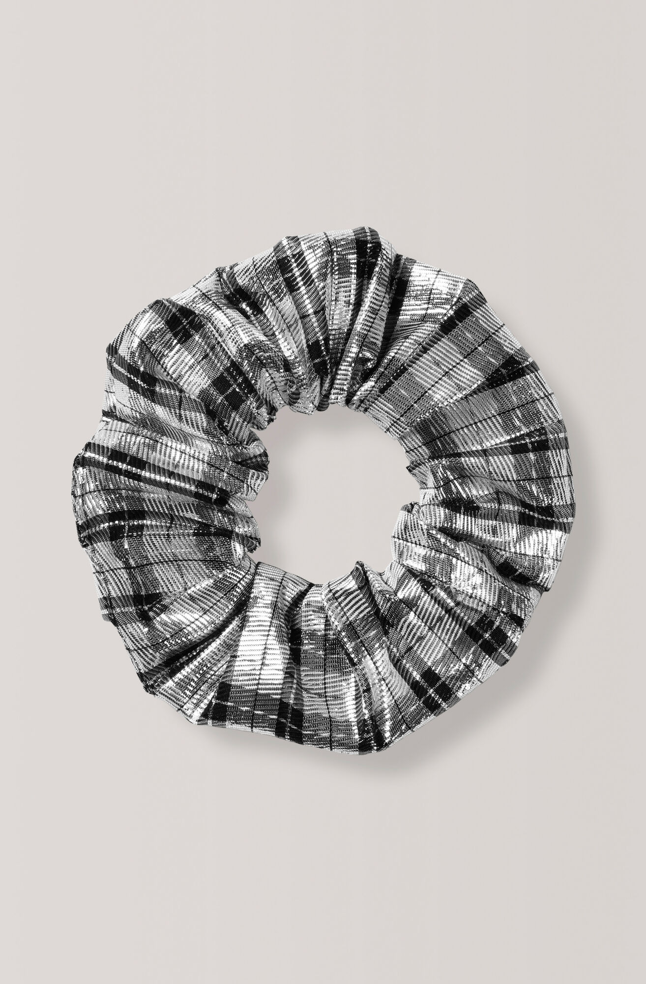 Lagarde Silk Scrunchie, Silver, hi-res