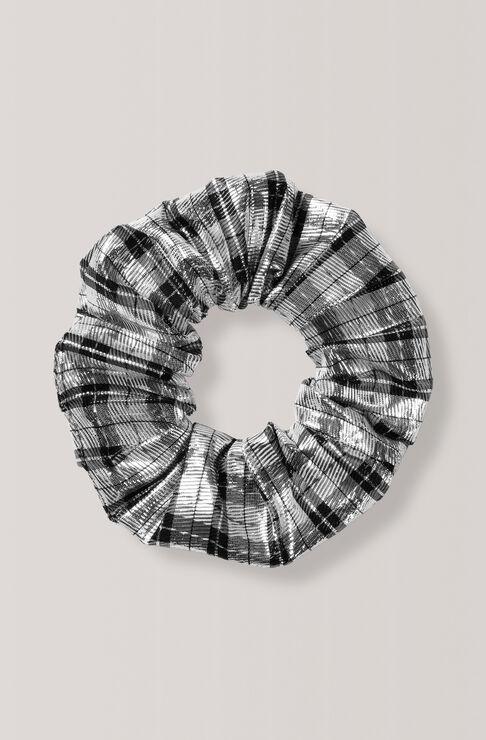 Lagarde Silk Scrunchie, Silver, hi-res