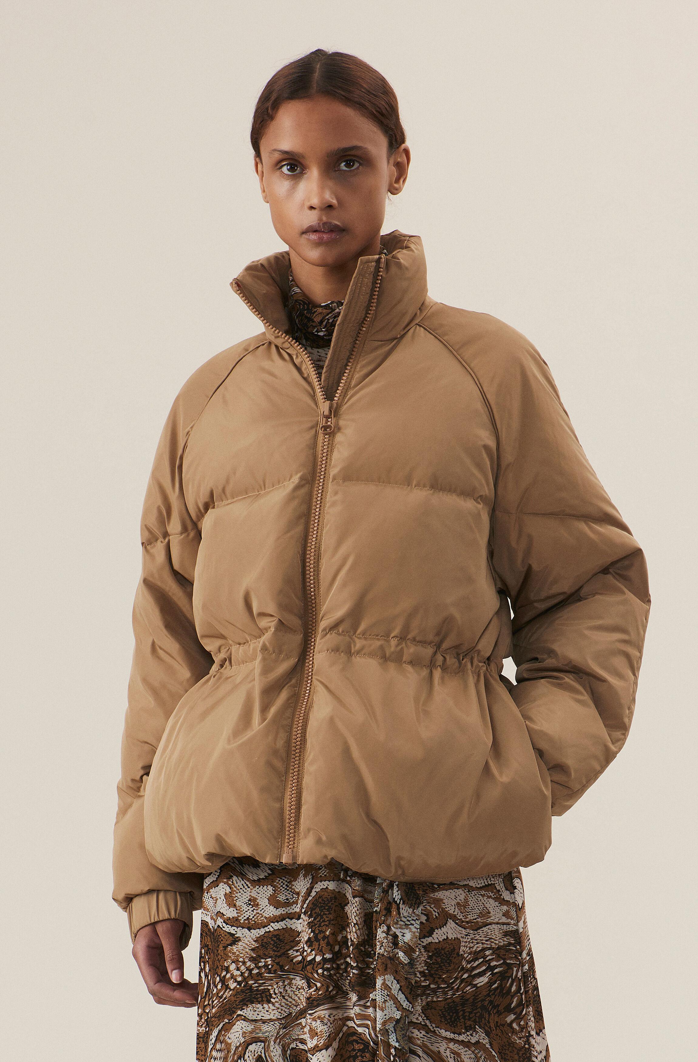 Tech Down Jacket, Tiger's Eye, model