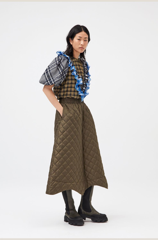 가니 퀼팅 롱스커트 Ganni Quilted Midi Skirt,Kalamata