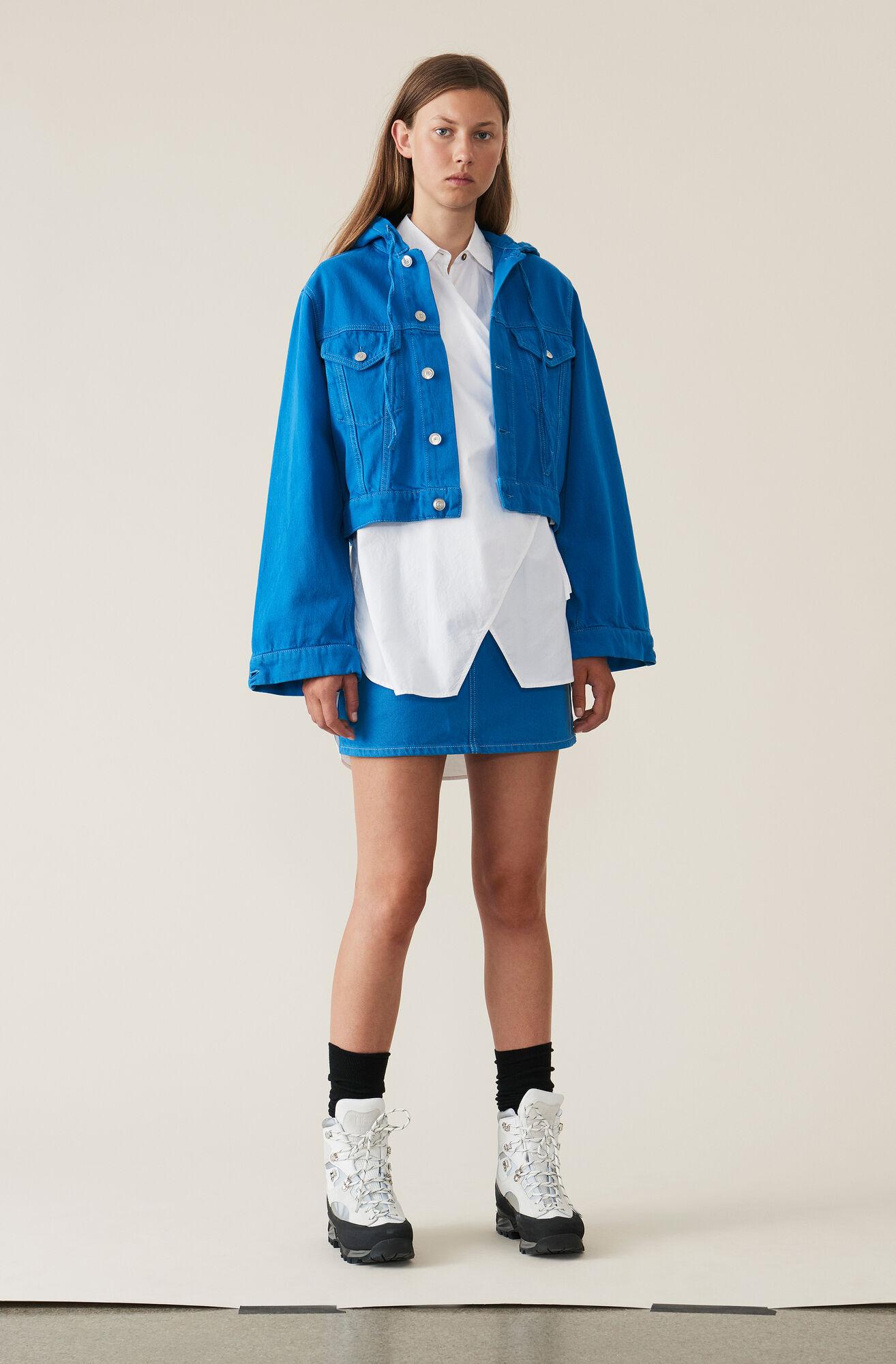 Washed Denim Hooded Jacket, Lapis Blue Overdyed, hi-res